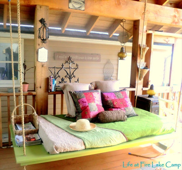 Diy pallet swing plans chair bed bench wooden pallet for Diy patio bed