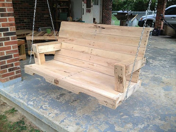 Diy pallet swing plans chair bed bench wooden pallet for How to make furniture out of wood pallets