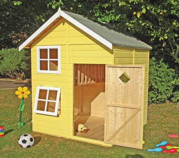 Diy designs kids pallet playhouse plans wooden pallet for Blueprints for playhouse