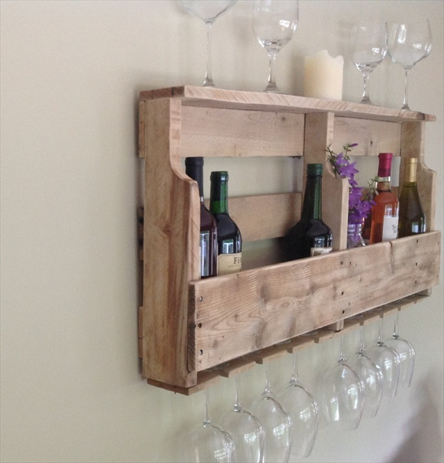 DIY Pallet Wine Rack Shelf Wooden Furniture