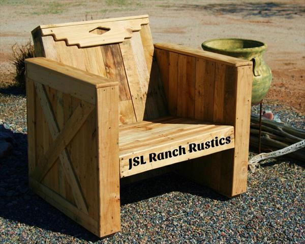 Outdoor DIY Pallet Chair Wooden Furniture