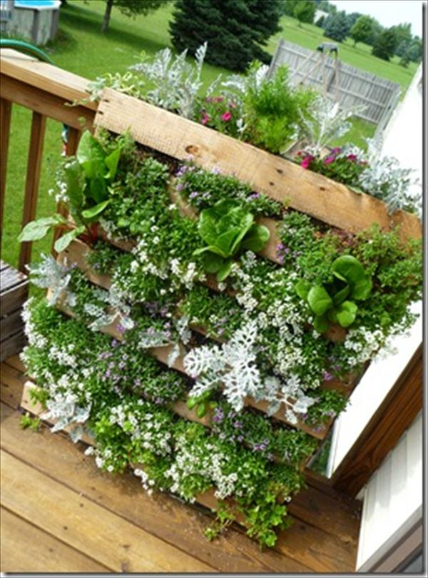 Diy vertical pallet garden wooden pallet furniture - Jardin vertical pallet ...