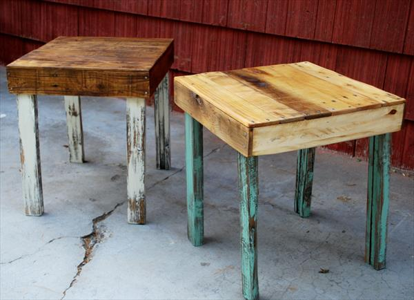 Diy pallet wood side tables wooden pallet furniture for Pallet end table
