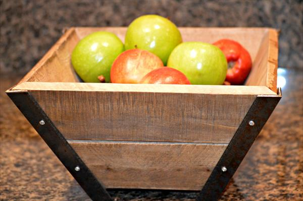 rustic pallet and steel bowl