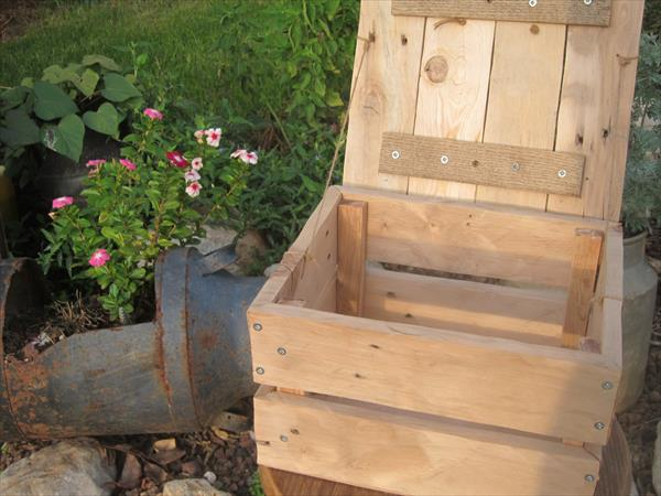 recycled pallet box with lid