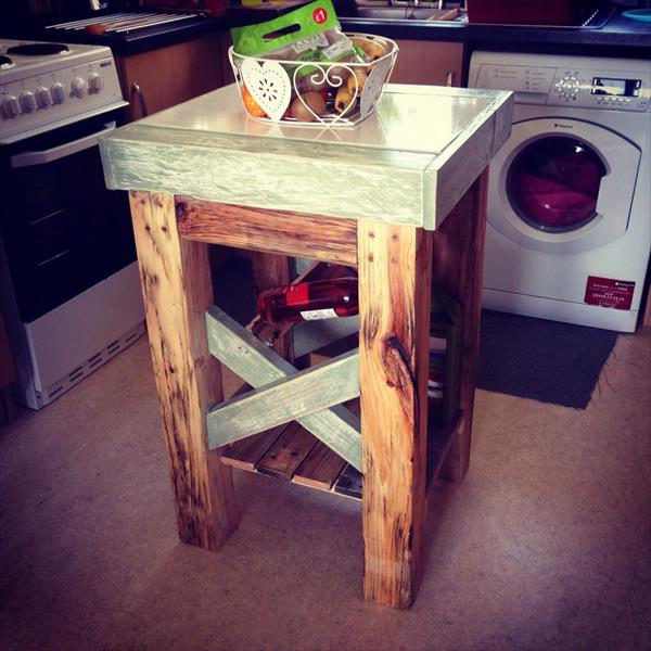 recycled pallet butchers block and kitchen island
