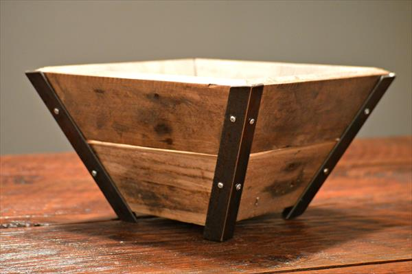 recycled pallet and steel bowl