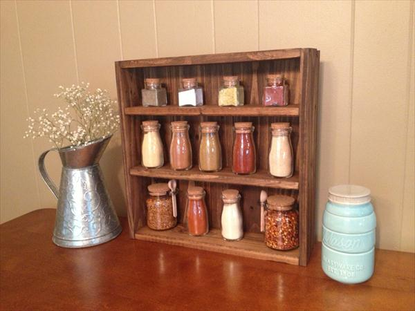 recycled pallet kitchen spice rack
