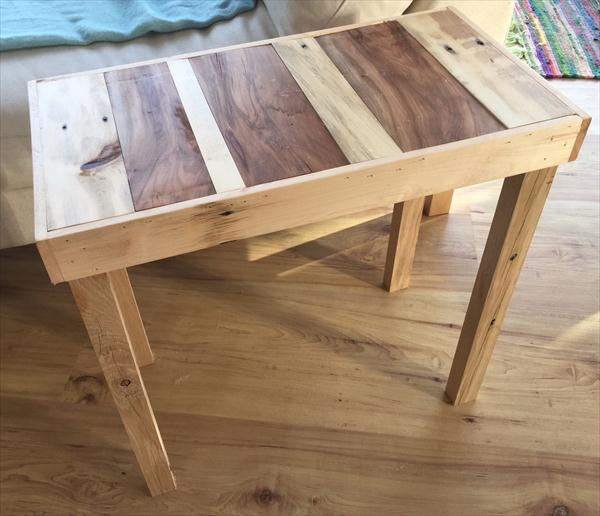 recycled pallet  2 toned side table