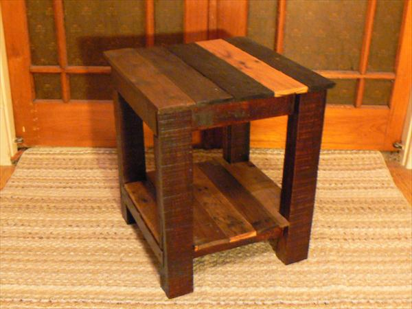 Side table end from pallets wooden pallet furniture