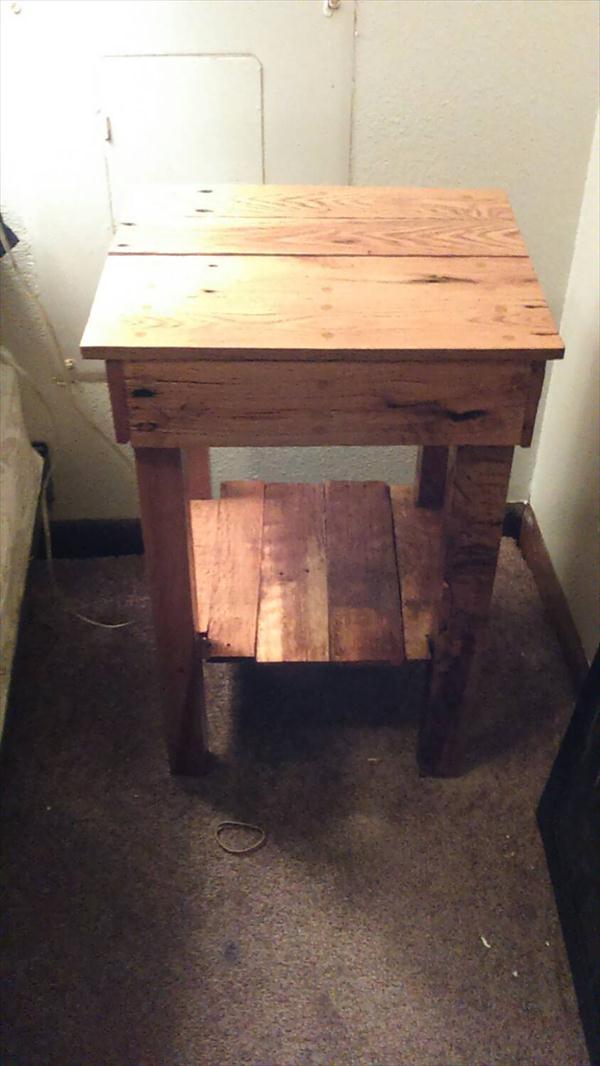 repurposed rustic pallet sofa table