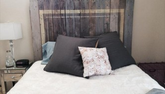 upcycled pallet rustic accent headboard