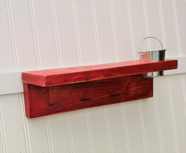 reclaimed pallet key rack with tin bucket
