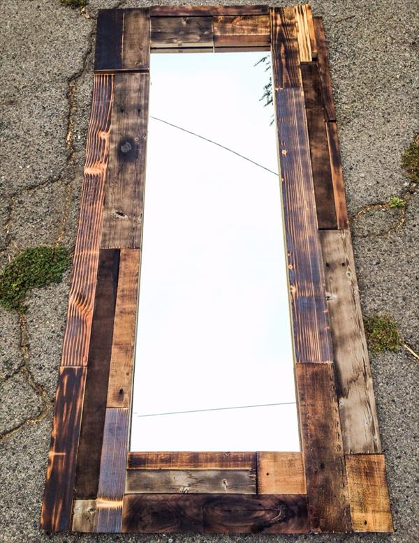 recycled pallet interior wall mirror