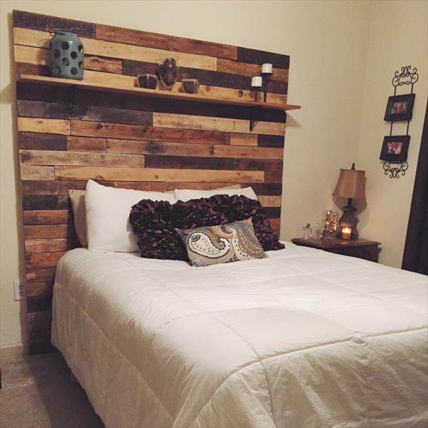 recycled pallet headboard with shelf