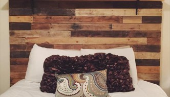 DIY Pallet Headboard with Decorative Shelf