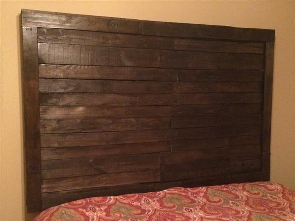 upcycled pallet rustic wooden headboard