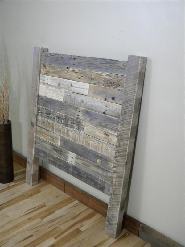 DIY Distressed Pallet Twin Headboard Wooden Furniture