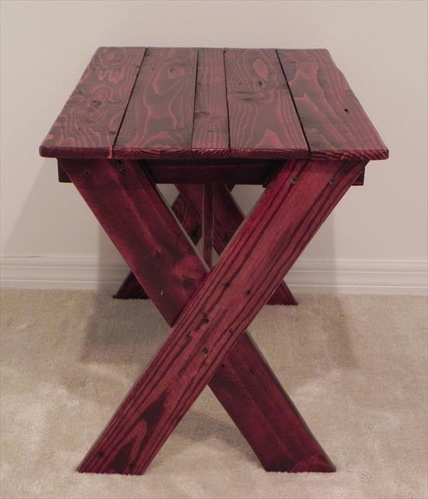 Diy Pallet Side Table With Criss Cross Legs Wooden Pallet Furniture