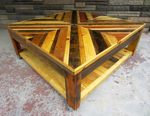 Chevron Pallet Coffee Table Wooden Pallet Furniture : upcycled pallet squared chevron coffee table with lower shelf from woodenpalletfurniture.com size 600 x 466 jpeg 53kB