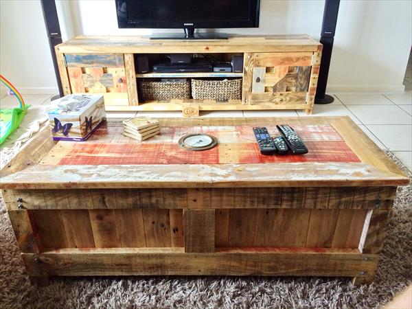 Pallet Coffee Table With Matching TV Cabinet ...