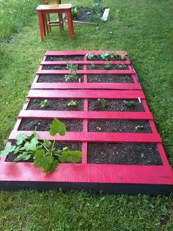 recycled pallet horizontal garden