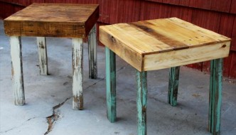 DIY Pallet Wood Side Tables