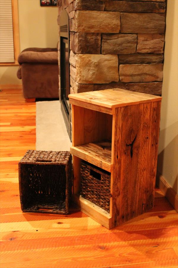 Pallet nightstand do it yourself pallets wooden pallet furniture diy pallet rustic storage bins nightstand solutioingenieria Choice Image