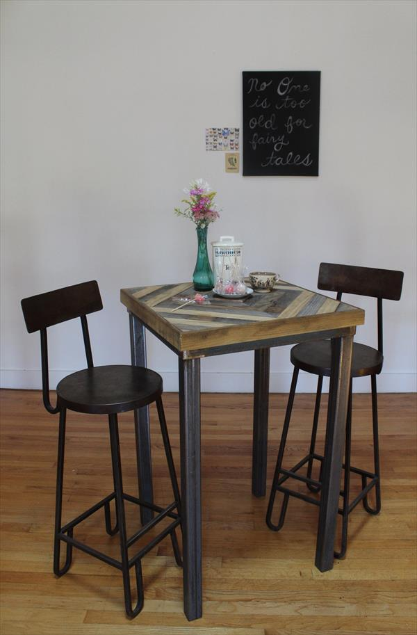 upcycled pallet industrial table