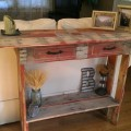 recycled pallet couch back table