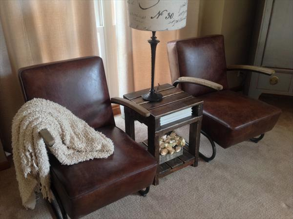 upcycled pallet wood end table