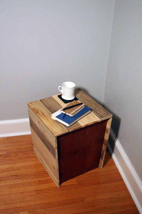 reclaimed pallet wood stool and side table