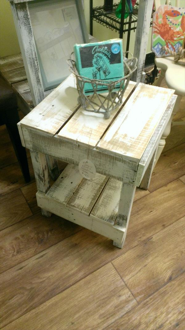 reclaimed pallet white washed  side table