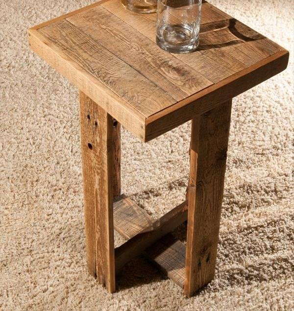 repurposed pallet end table