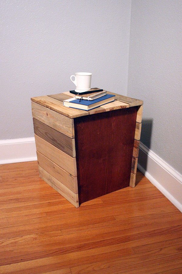 repurposed pallet wood stool and table