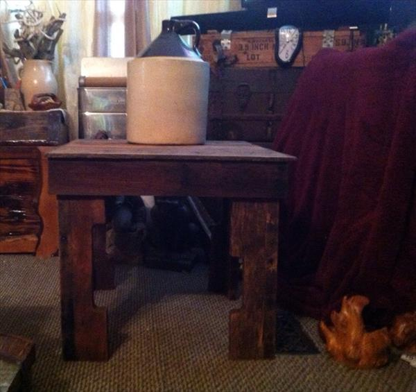 handmade pallet wood side table