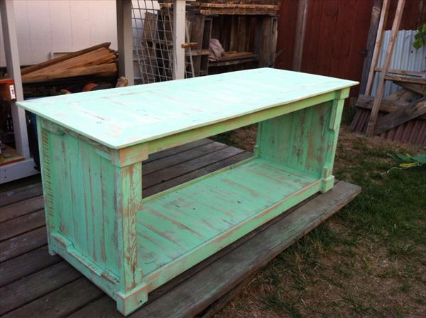 reclaimed pallet distressed green coffee table