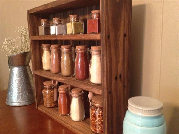 repurposed pallet vintage styled spice rack