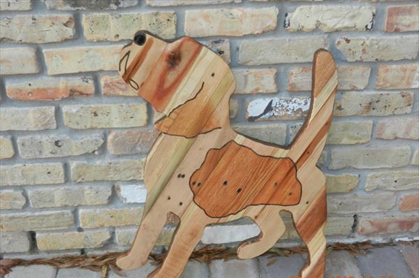 recycled pallet beagle dog wall art