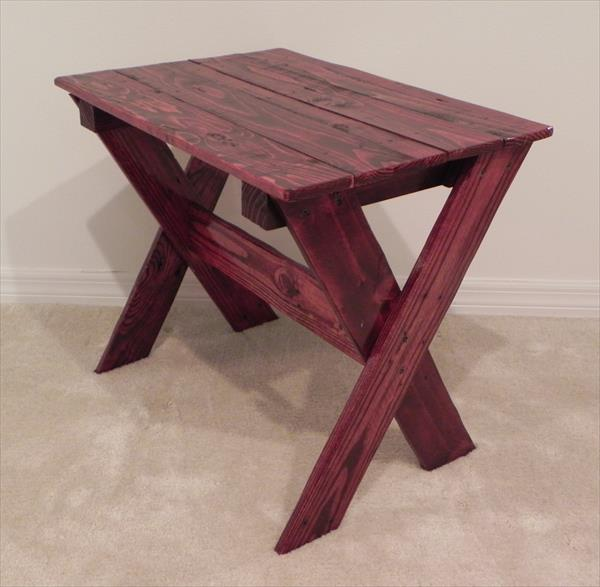 Diy pallet swing plans chair bed bench wooden pallet for Cross leg table plans
