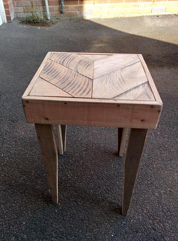 sturdy wooden pallet side table