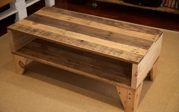 diy pallet wooden coffee table