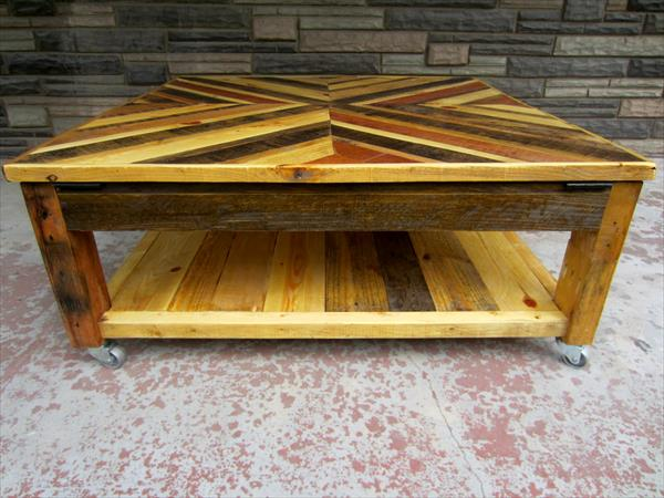 varnished pallet chevron coffee table
