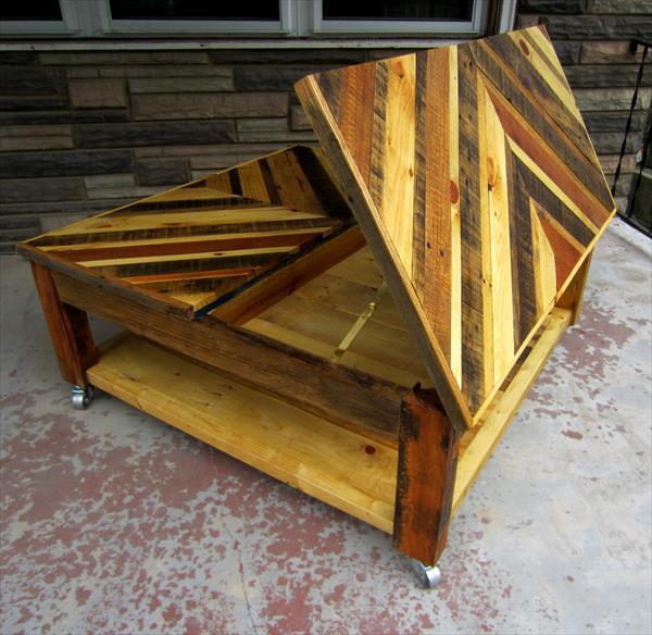 diy pallet chevron coffee table with secret stash